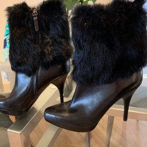 Via Spiga Rabbit Fur Heeled Boots
